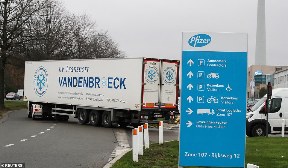 The breakthrough jab was given the green light by the MHRA within just 10 days of receiving the results from its late stage trials. A truck leaves the factory in Belgium where the Covid vaccine is being manufactured