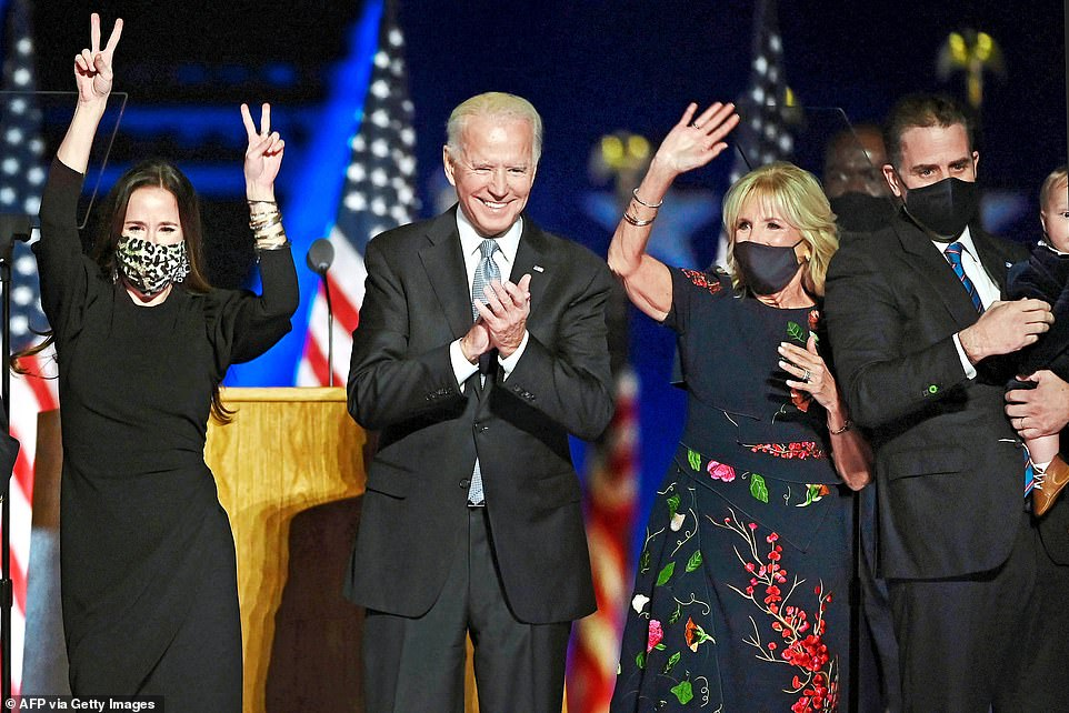 President-elect Biden said neither his son Hunter nor any of his family would take on any business enterprises that would be a conflict of interest while he sat in the Oval Office - above the Biden family - Ashley, Joe, Jill and Hunter - on the night Biden was declared winner of the election