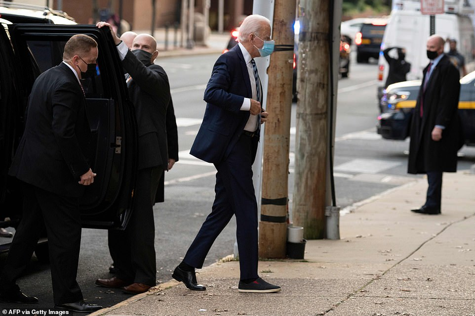 Joe Biden was not wearing his medical boot on Thursday, less than a week after fracturing his right foot