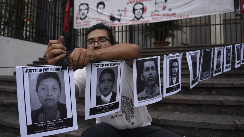 Posters of missing persons in the armed conflict in Guatemala