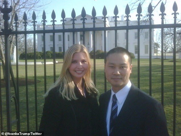 Ivanka Trump, who previously had a shoe line sold on Zappos, was also among those paying tribute to Hsieh (pictured together), who she worked with through her fashion business