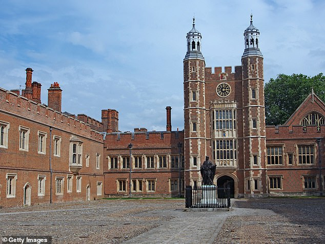 A female staff member at Eton (above) told Mr Jones that she thought it was an 'inappropriate word' with the ex-rugby player 'letting it go', according to a parent