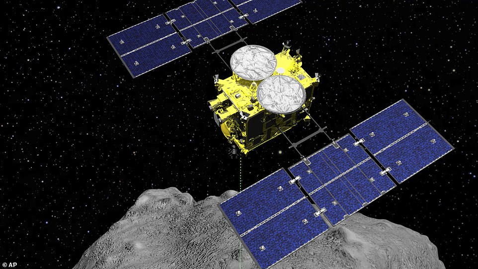 This computer graphics image released by the Japan Aerospace Exploration Agency (JAXA) shows the Hayabusa2 spacecraft above the asteroid Ryugu
