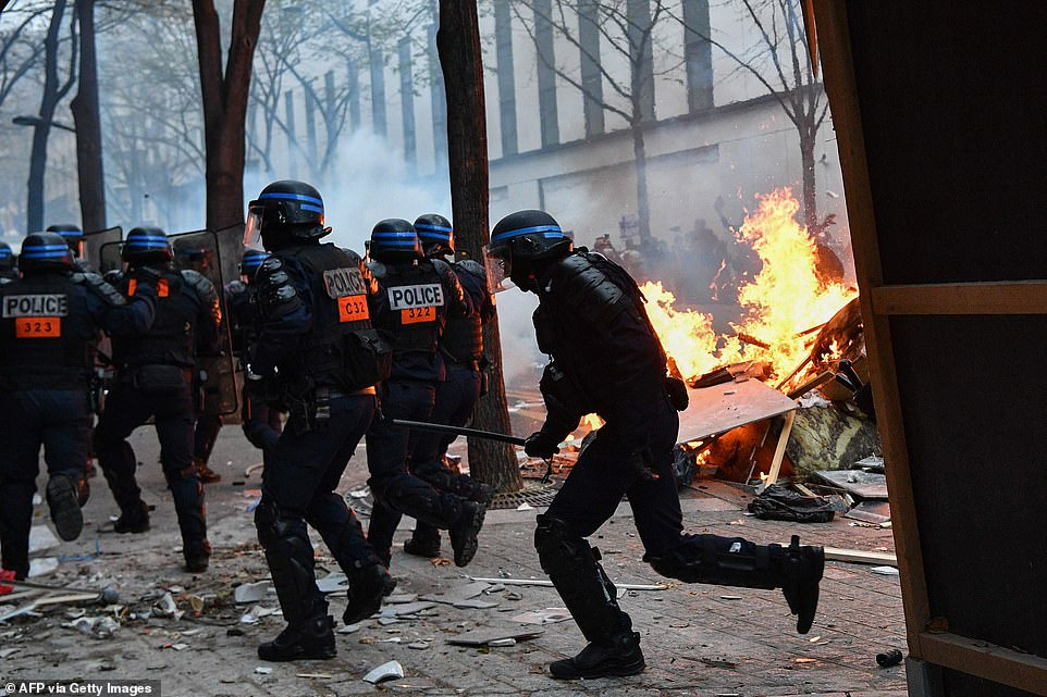 Protestors took the streets in Paris again today, after weeks of demonstrations, to campaign against the French government's proposed 'General Security' bill,  forcing the police to intervene