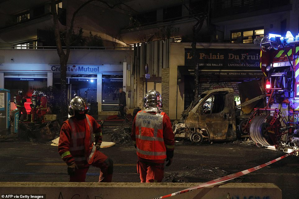 Firefighters attended the scene in Paris this evening to extinguish a vehicle which had been set on fire