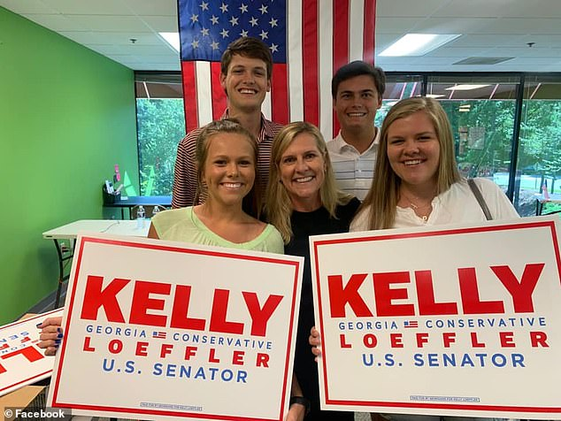 Deal (top left) was pictured with Georgia First Lady Marty Kemp and her two daughters, Amy and Lucy, supporting Loeffler for Senate in a July photo.