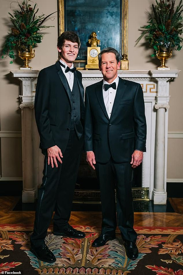 Deal: 'Mr. Brian is first off a dad and a husband to one of my favorite families. I will always be willing to fight for each one of them' Pictured: Harrison Deal and Gov. Brian Kemp