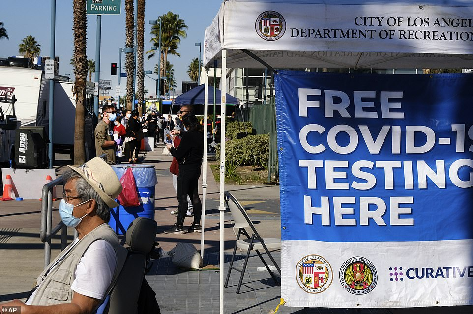 People lined up on Saturday in North Hollywood to get tested for COVID-19