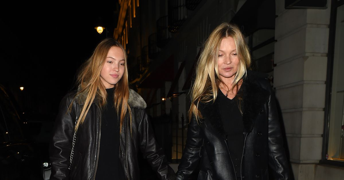 Kate Moss and lookalike daughter Lila hit town for night out in matching outfits