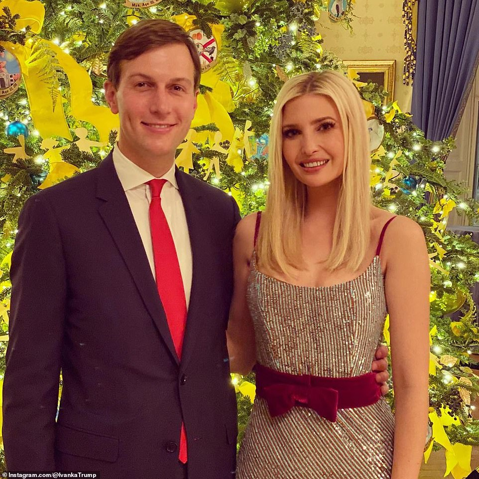 Post three images of their night at the White House Ivanka said: 'Touring @FLOTUS¿s dazzling 2020 White House Christmas decorations Friday evening! 'This year's theme, ¿America the Beautiful,¿ is a tribute to the majesty of our great Nation!'