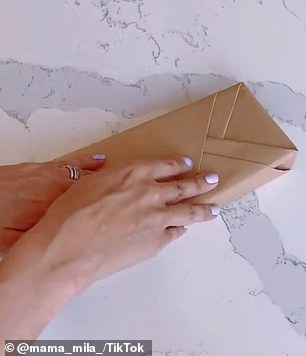 Push the sides inwards to create two triangles, fold one triangle across and then repeat on the opposite side (step by step pictured)
