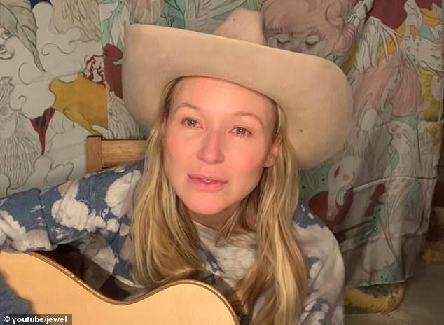 Hsieh received a letter from his friend Jewel three months before he died in which she told him he was in trouble and that he was taking too many drugs. She is pictured above during a tribute song she posted online for him last Wednesday