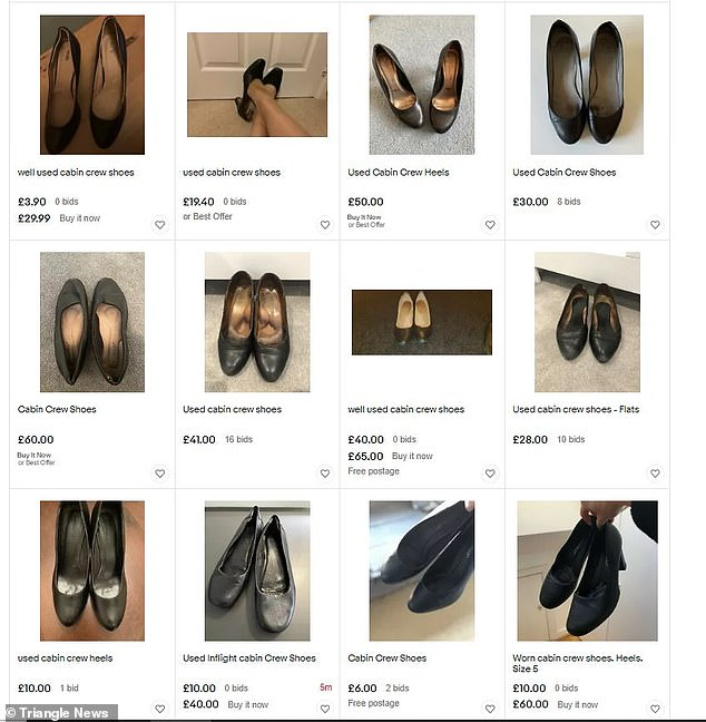 Flight attendants have also been selling used shoes and tights on eBay for between £3 and £180. Pictured: An eBay account selling used 'cabin crew' shoes