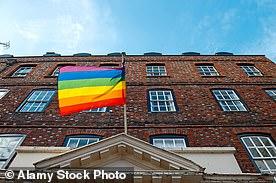 A rainbow flag flying over Eton College