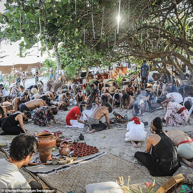 The festival posted multiple photos on its own Instagram of groups participating in what appeared to be meditation and yoga sessions. In those images, a handful of people could be seen wearing masks