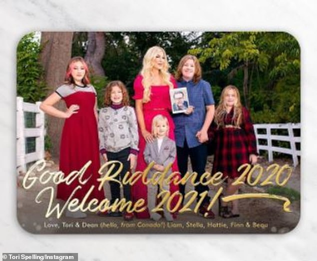 'Good riddance 2020. Welcome 2021!' Beverly Hills, 90210 alum Tori Spelling's holiday card also featured all five of her children (from L-R) - daughter Stella, 12; son Finn, 8; son Beau, 3; son Liam, 13; daughter Hattie, 9