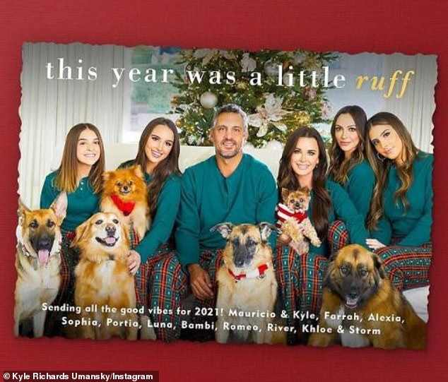 'This year was a little ruff. Sending all the good vibes for 2021!' The Real Housewives of Beverly Hills star Kyle Richards also used Simply to Impress to make her holiday card featuring husband Mauricio Umansky, their four daughters, and six dogs
