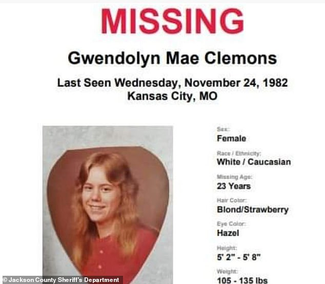 According to a statement from the Jackson County Sheriff's Department, Clemons and Alisha vanished from the Joplin, Missouri, area around Thanksgiving 1982. They were with Clemons' boyfriend. Clemons hasn't been heard from or seen ever since