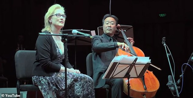Obama was in the audience: The 59-year-old retired politician wrote how the 71-year-old acting legend recited Wang Wei's poem Luchai in Mandarin accompanied by cellist Yo-Yo Ma (R) at the US-China Forum in Beijing back in 2011
