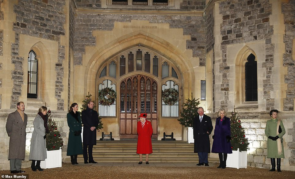 The Royal Family including Prince Edward, Earl of Wessex and Sophie, Countess of Wessex (left), Prince William, Duke of Cambridge, Catherine, Duchess of Cambridge (second from left), Queen Elizabeth II (centre), Prince Charles, Prince of Wales, Camilla, Duchess of Cornwall (second from right) andAnne, Princess Royal (right)