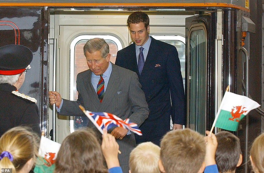 Prince William and his father Prince Charles arriving at Bangor Station on the Royal Train in 2003 for a visit to Wales in the run-up to his 21st birthday