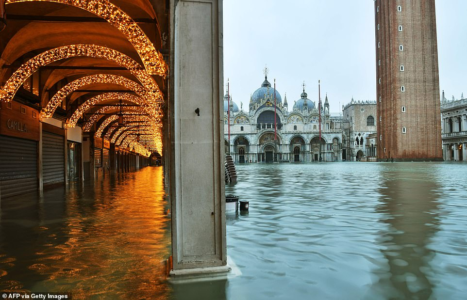 A view shows a flooded St. Mark's Square on December 8. Waters are expected to rise to a maximum of 145cm later today, according to local authorities