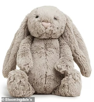 Cuddly: She has a Jellycat Bashful Bunny, a $22.50 stuffed bunny that comes with a book called 'If I Were a Bunny'