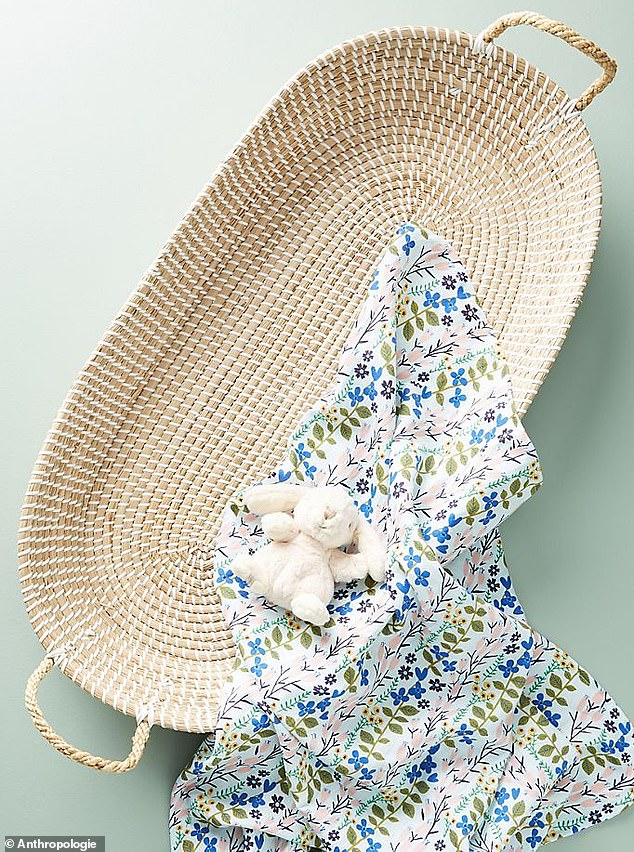 Diaper spot: It is topped with a $108 Olli Ella Reva changing basket, also from Anthropologie