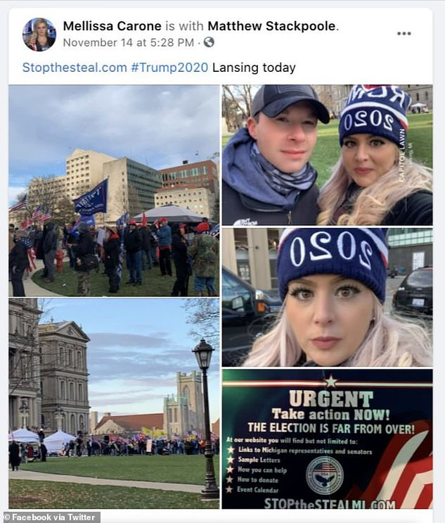 Carone is a dedicated Trump supporter, who has posted her support for him on social media for months, called Joe Biden 'literally mental' and posting from a 'Stop the Steal' rally