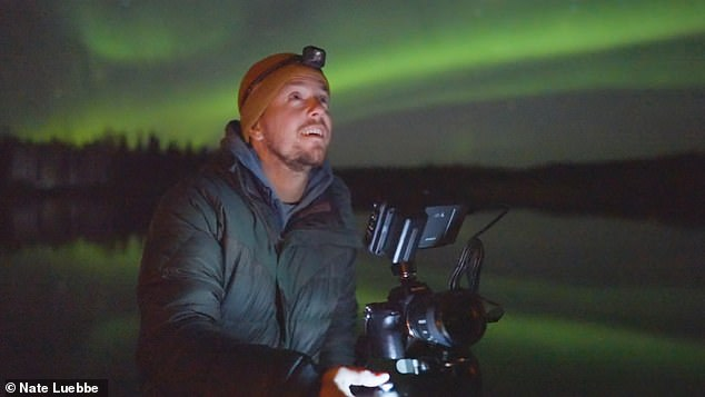 Nate Lubbe (pictured) braved the freezing cold in Alaska to capture the footage, as well as make a documentary about the project called 'Lights Side Up'