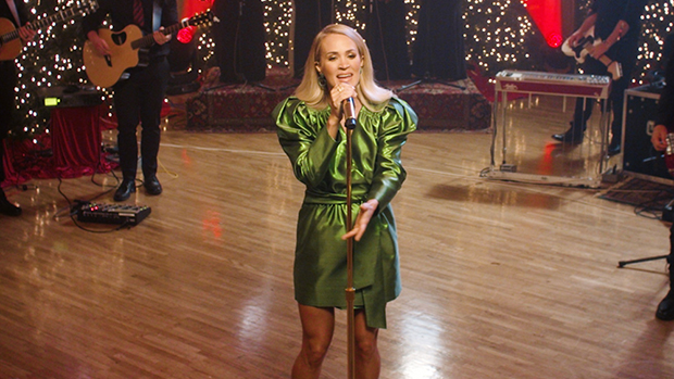 Carrie Underwood Rocks Sexy Green Mini Dress For Pandora Holiday Performance — See Pics