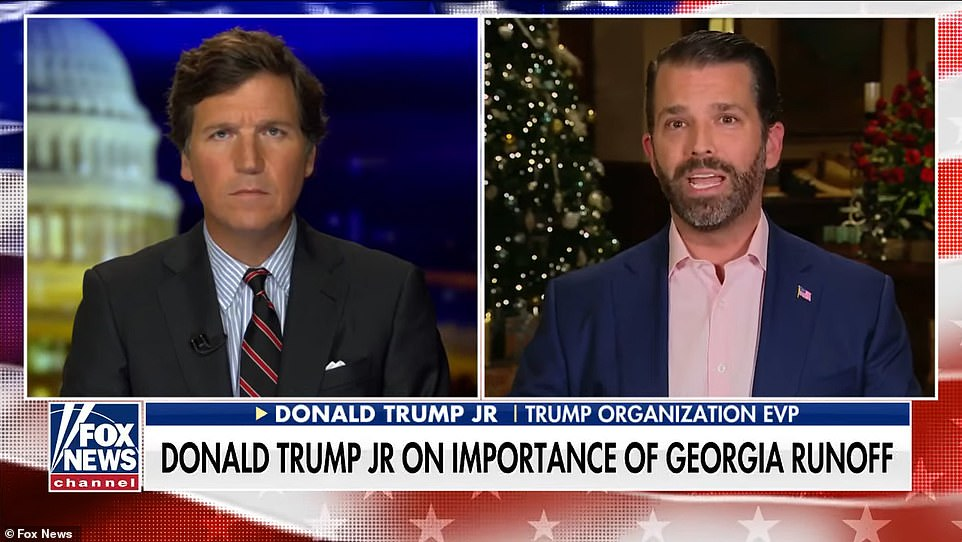 Donald Trump Jr. discussed Swalwell's involvement with Carlson, and claimed he is a 'national security threat;