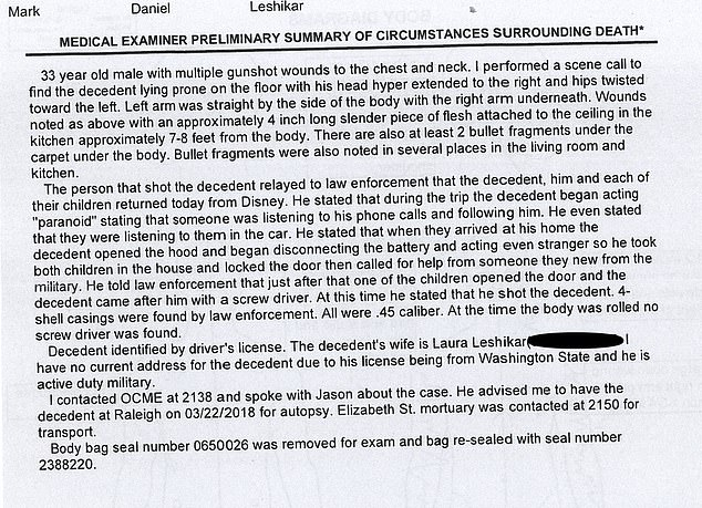 The Medical Examiner summary details Lavigne's description of the shooting