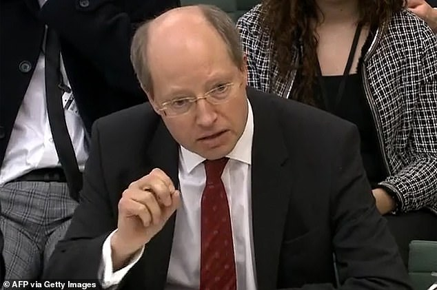 Sir Philip Rutman, seen here addressing Parliament in 2019,quit as the Home Office's permanent secretary after accusing Ms Patel of a 'vicious and orchestrated briefing campaign' against him