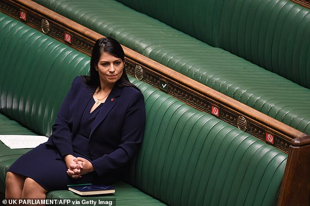Home Secretary Priti Patel sitting on the front benches in the House of Commons last month
