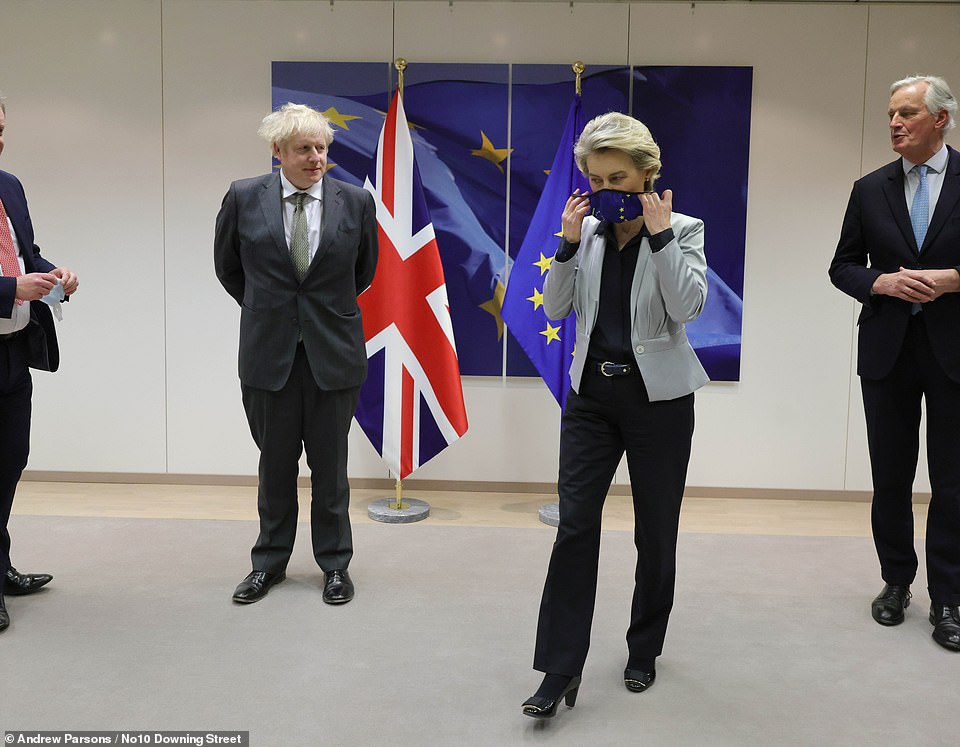 As the leaders posed for pictures, Ms von der Leyen reminded him of the need for social distancing - with Brussels in the midst of a tough coronavirus lockdown