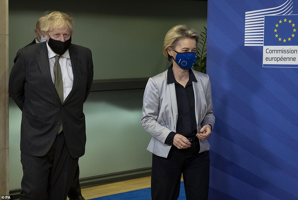 Boris Johnson in Brussels, Belgium, for a dinner with European Commission president Ursula von der Leyen where they will try to reach a breakthrough on a post-Brexit trade deal
