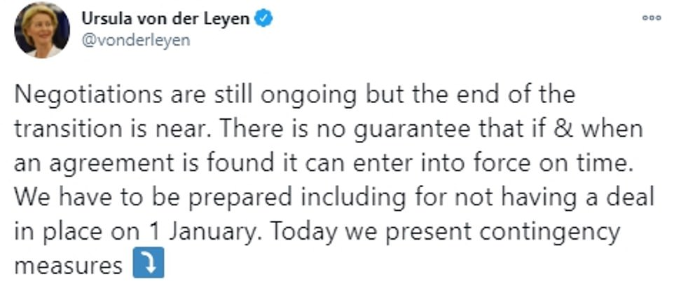 Ms von der Leyen today published no deal contingency plans in another sign that the crisis is deepening