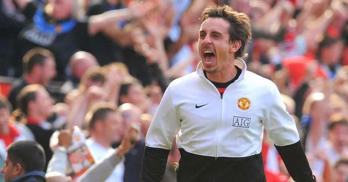 Neville's cheeky celebration that infuriated Man City fans after late derby goal