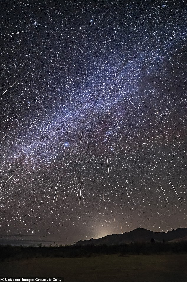 The cosmic show will occur between December 4 and December 17, with the best nights for viewing on the evening of December 13 and into morning on the following day. Pictured is the event over Arizona in 2017