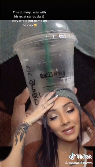 Caught! A Starbucks cup with his ex's name gave this cheater away