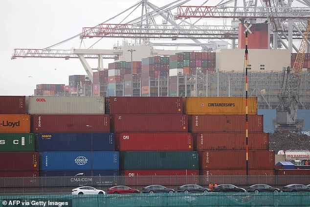 There are unusually large incoming shipments of PPE to be dealt with dockside. At one point there were 11,000 containers of PPE sitting on the dockside, although port authorities now say the backlog will be cleared by the end of this week. Pictured: Shipping containers pile up on dockside in Southampton