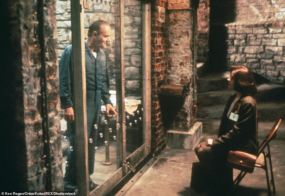 Hopkins pictured with Jodie Foster in The Silence of the Lambs, for which he won his first Academy Award for his chilling portrayal of serial killer Hannibal Lecter
