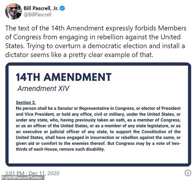 Pascrell cited section 3 of the 14th Amendment which is designed to keep traitors out of office