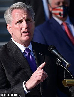 U.S. House Minority Leader Kevin McCarthy, pictured at a news conference at the U.S. Capitol on December 10, is one of the most high profile members to sign the brief