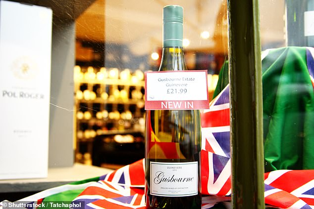 English wine new in bottle with shop decorated represent domestic products of England and alcohol retail business on October 24, 2015 in Petworth West Sussex