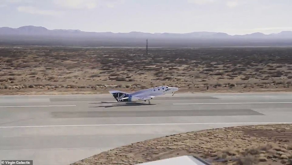 The spacecraft made a smooth landing back in New Mexico just one hour after take-off with CEO Michael Colglazier calling it a'picture-perfect landing'