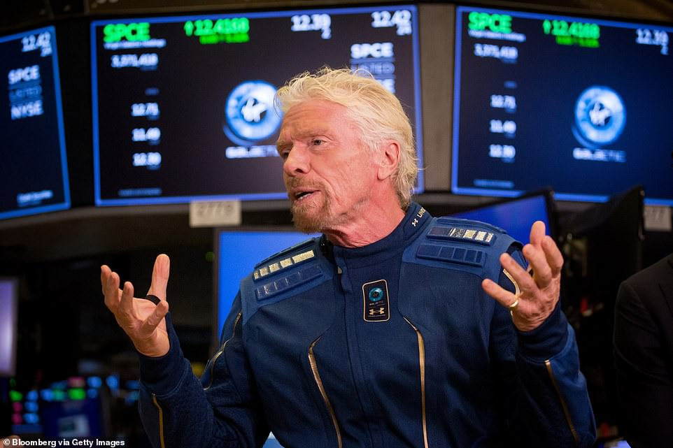 Branson (pictured) is competing with Elon Musk's SpaceX and Jeff Bezos' Blue Origin to become the first to send tourists into space