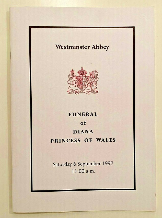 The order of service for Princess Diana's funeral in September 1997 is for sale at £4,500
