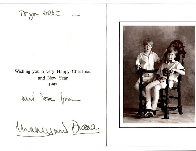 This Christmas card featuring William, ten, and Harry, eight, is on sale for £1,250 on eBay